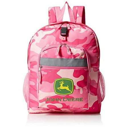 John Deere Girls' Trademark Backpack, Pink - Camouflage Backpacks