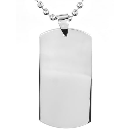 Stainless Steel Engravable Dog Tag Pendant Necklace - Custom Dog Tag Necklace