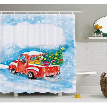 Christmas Shower Curtain Set, Vintage Red Truck in Snowy Winter Scene with Xmas Tree and Gifts Candy Cane Kids, Bathroom Decor, Blue White Red, by Ambesonne