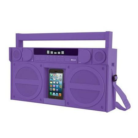 IHOME iBT44UC Bluetooth(R) Portable FM Stereo Boom Box with USB Charging (Purple)