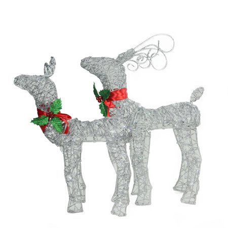 Set of 2 LED Lighted Silver Glitter Buck and Doe Reindeer Christmas Outdoor Decorations ()