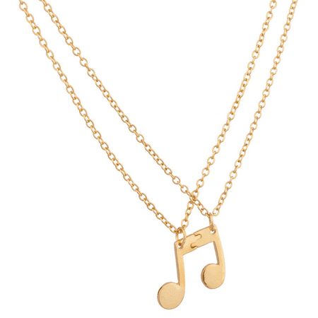 Lux Accessories Eighth Note Music Symbol BFF Best Friends Forever Necklace Set (2 (Best Friends In Japanese Symbols)