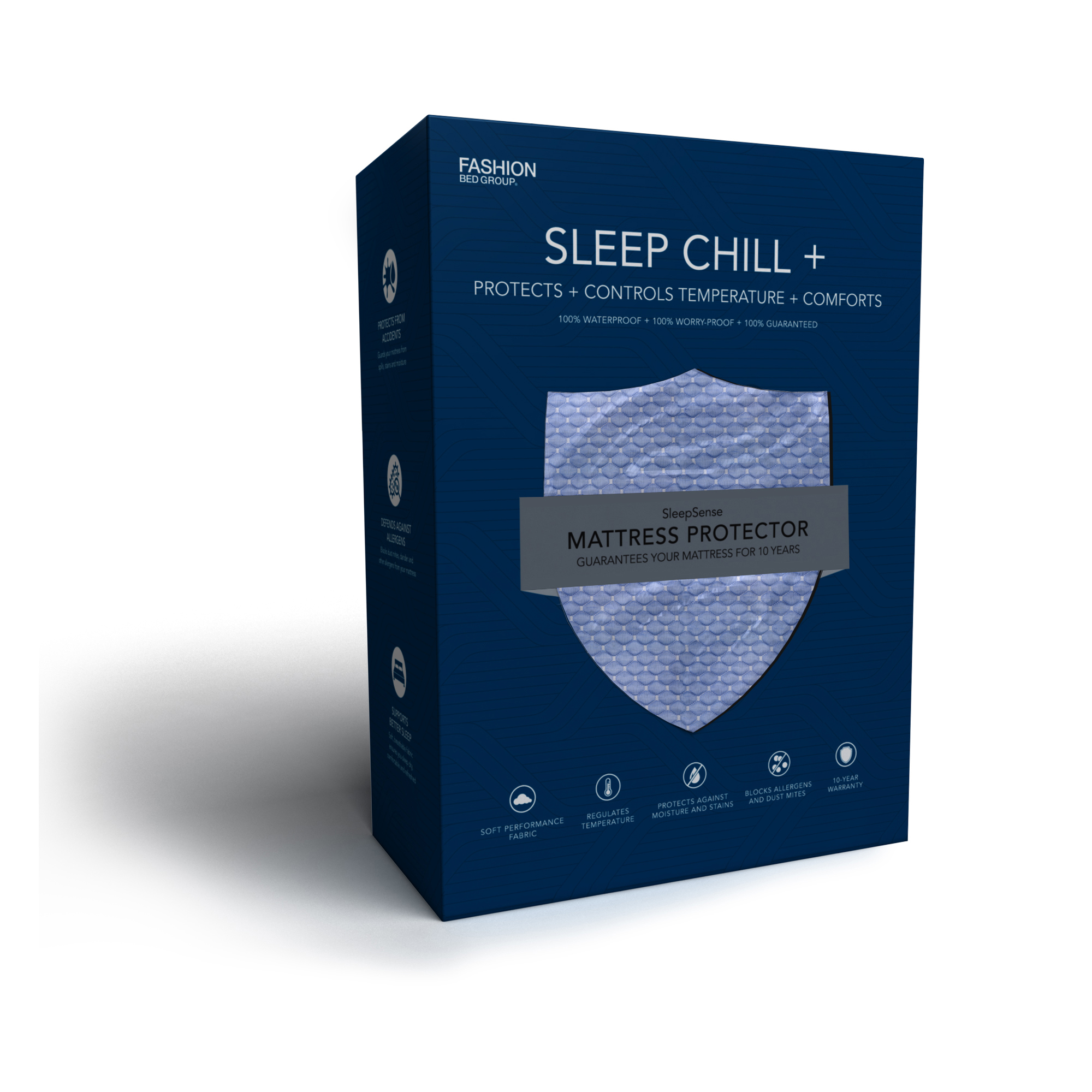 Sleep Chill + Crystal Gel Mattress Protector with Cooling Fibers and Blue 3-D Fabric,... by Fashion Bed Group