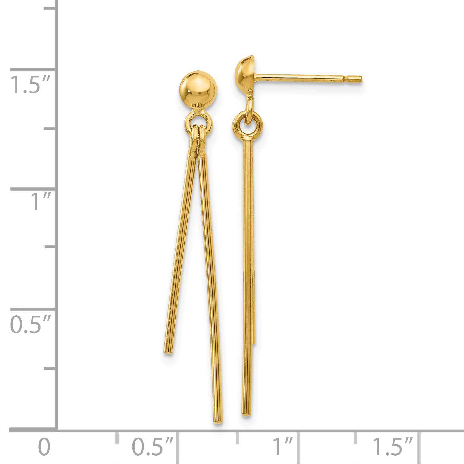 14k Yellow Gold Post Stud Drop Dangle Chandelier Earrings Fine Jewelry Gifts For Women For Her - image 2 of 3