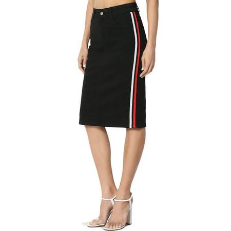 TheMogan Women's Varsity Side Stripe Mid Rise Knee Length Midi Pencil Denim Skirt](Mid Length Petticoat)
