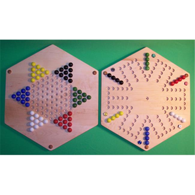 THE PUZZLE-MAN TOYS W-1973 Wooden Marble Game Board - (2 Games In 1) - 20 in. Hexagon - Aggravation 6-Player 6-Hole & Chinese Checkers - Hard Maple