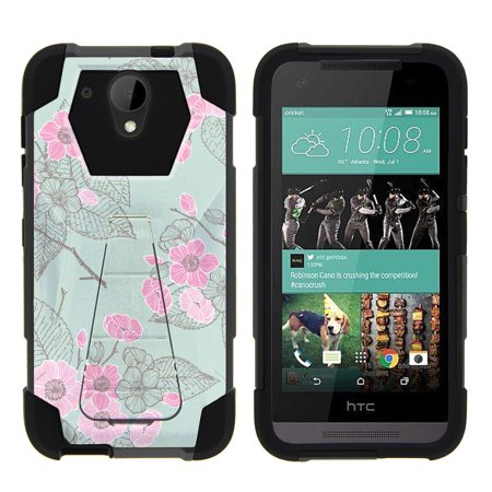 HTC Desire 520 Shock Fusion Heavy Duty Dual Layer Kickstand Case -  Blooming Pink Flower