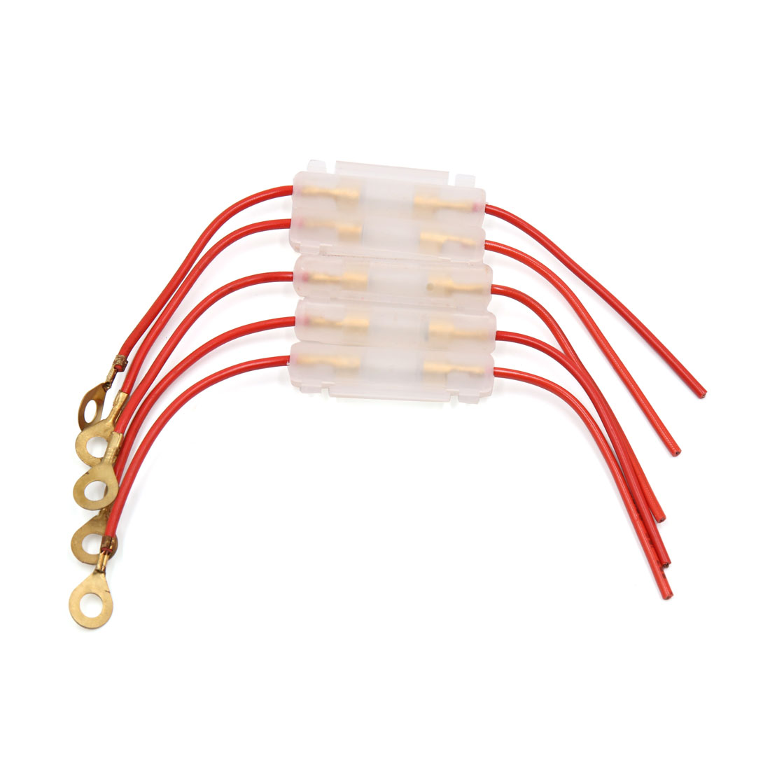 5Pcs Universal Red Wire Clear Plastic Shell Cap Wired Inline Fuse Holder 10A