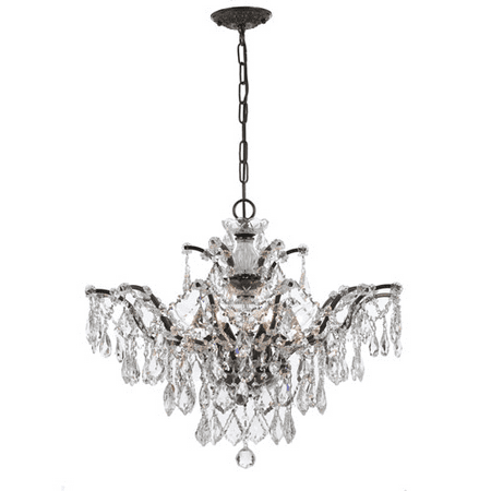Chandeliers 6 Light With Vibrant Bronze Clear Hand Cut Crystal Wrought Iron 27 inch 360 Watts - World of Lighting Bronze Crystal Six Light