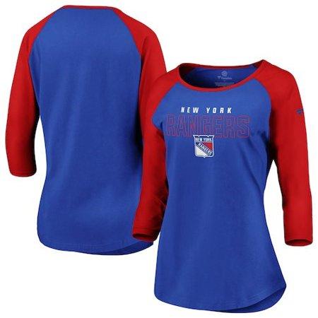 New York Ringer (New York Rangers Fanatics Branded Women's Iconic 3/4-Sleeve Scoop Neck T-Shirt - Blue/Red)