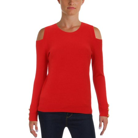 Lauren Ralph Lauren Womens Lissie Cashmere Cold-Shoulder Crewneck Sweater