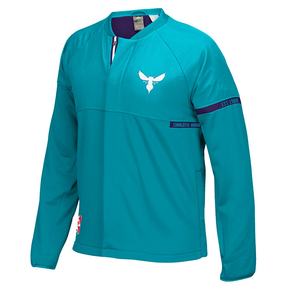 Charlotte Hornets NBA Adidas Teal 2016-17 Authentic On-Court Team Issued Pro Cut Warm Up  Jacket For Men