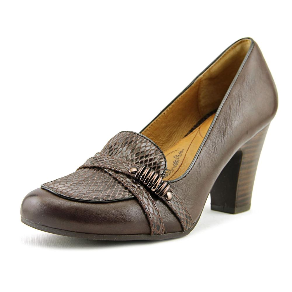 Sofft Montara Women Round Toe Leather Brown Heels by Sofft