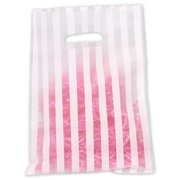 Bags & Bows by Deluxe 53-0912-WSTP White Stripe Frosted High Density Merchandise Bags - Case of 500
