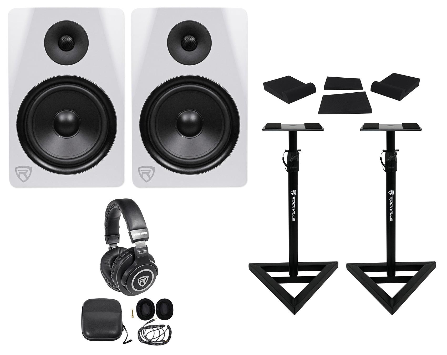 "2) Rockville DPM8W 8"" 600w Dual Powered Studio Monitors+Stands+Pads+Headphones by ROCKVILLE"