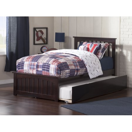 Mission Twin Platform Bed with Matching Foot Board with Twin Size Urban Trundle Bed in Espresso