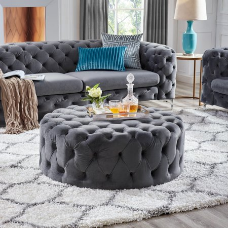 Swell Corvus Tufted Velvet Round Ottoman With Casters Ibusinesslaw Wood Chair Design Ideas Ibusinesslaworg