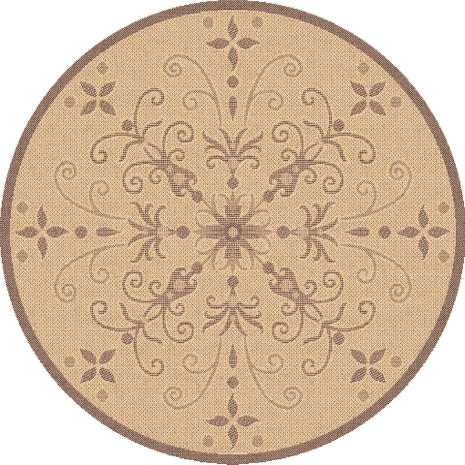 Dynamic Rugs Piazza Vente Round Indoor/Outdoor Area Rug - Natural/Brown
