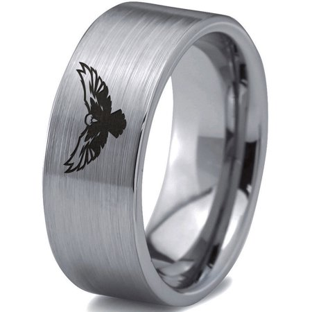 Tungsten Falcon Eagle Bird Band Ring 8mm Men Women Comfort Fit Gray Flat Cut Brushed Polished