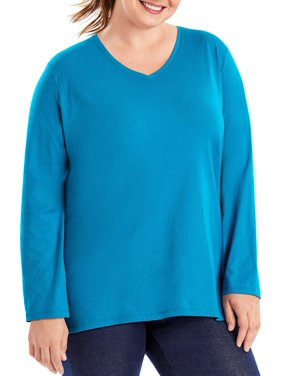 84c07a1ff75 Product Image Just My Size Plus-Size Women s Long-Sleeve V-neck Tee