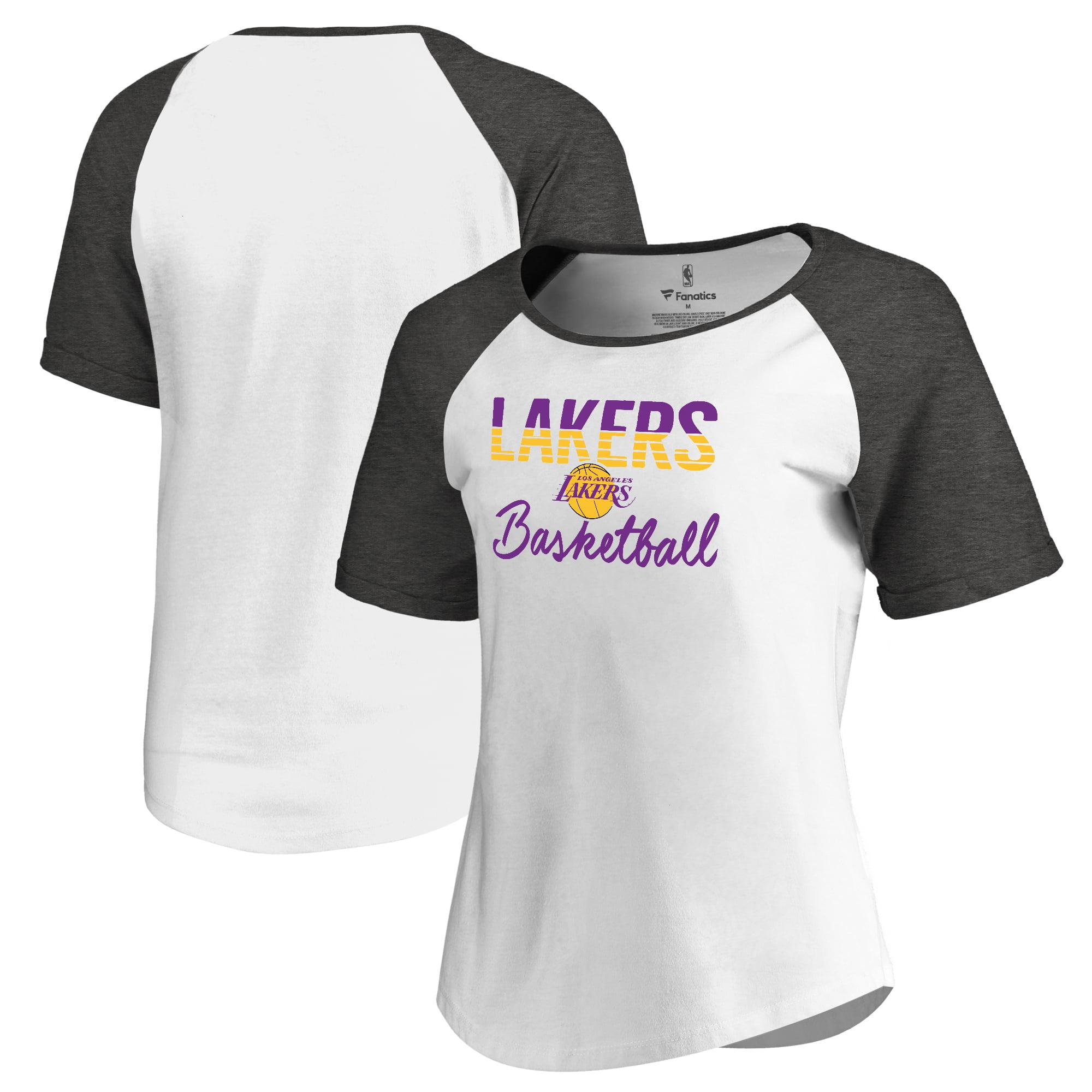 Los Angeles Lakers Fanatics Branded Women's Free Line Raglan Scoop Neck Tri-Blend T-Shirt - White/Black