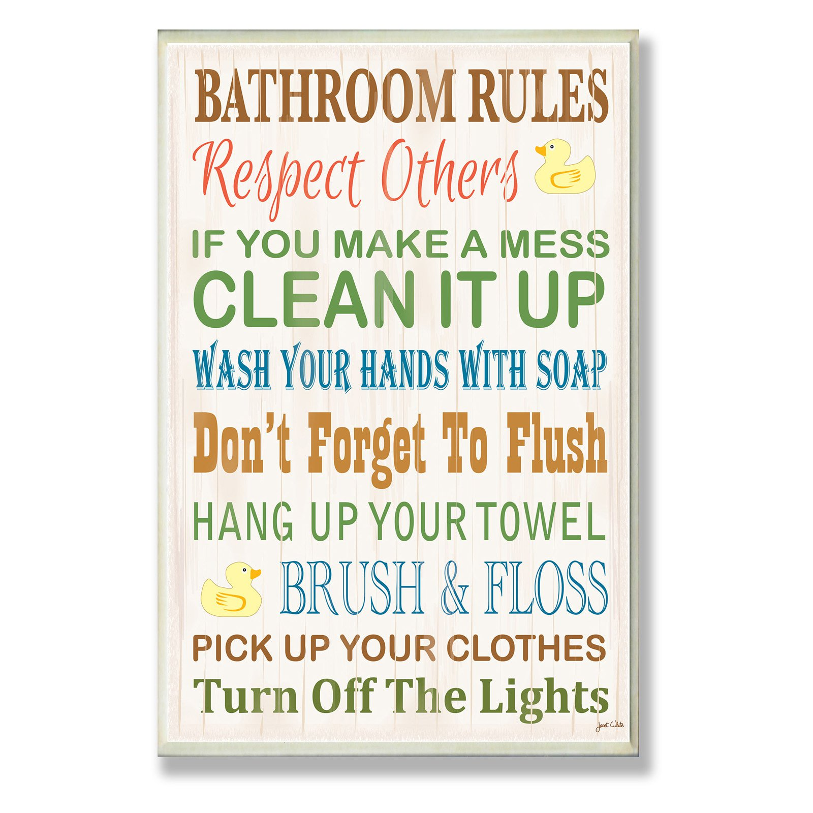 Bathroom Rules Rubber Ducky Bathroom Wall Plaque by Stupell Industries