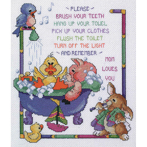 Janlynn Cross Stitch Kit, 12-Inch by 10-Inch, Bath Time Rules Multi-Colored