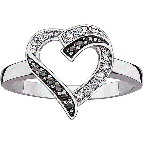 .17 Carat T.G.W. Black and White CZ Sterling Silver Open Heart Ring