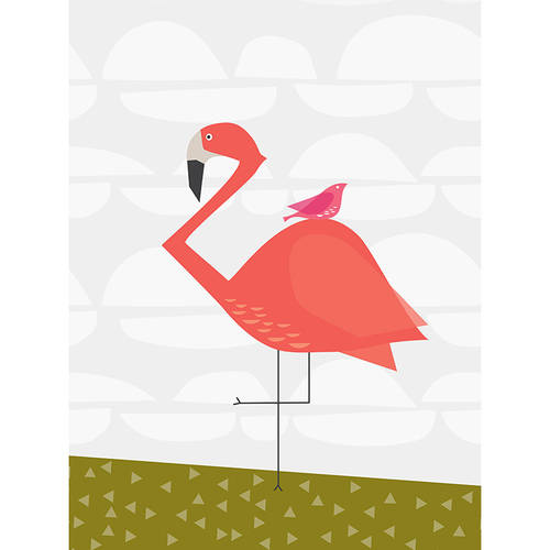 Oopsy Daisy - Fancy Flamingo Canvas Wall Art 14x18, Stacy Amoo-Mensah