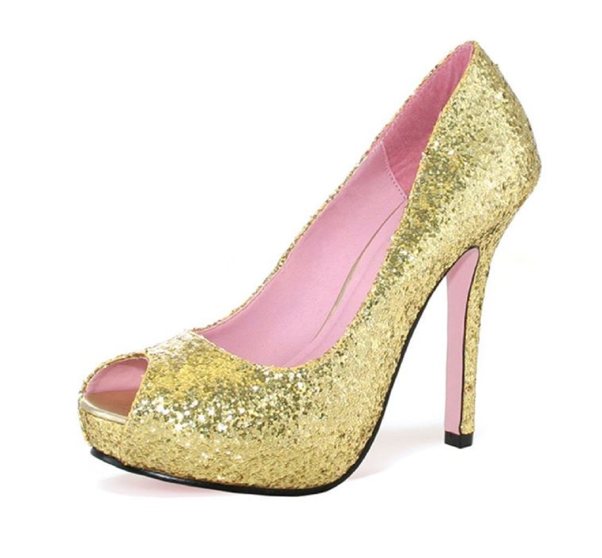 "Leg Avenue Women's ""ELLA"" 5"" Open-Toe, Glitter Pump with 1"" Covered Platform Heel (Gold, 7)"