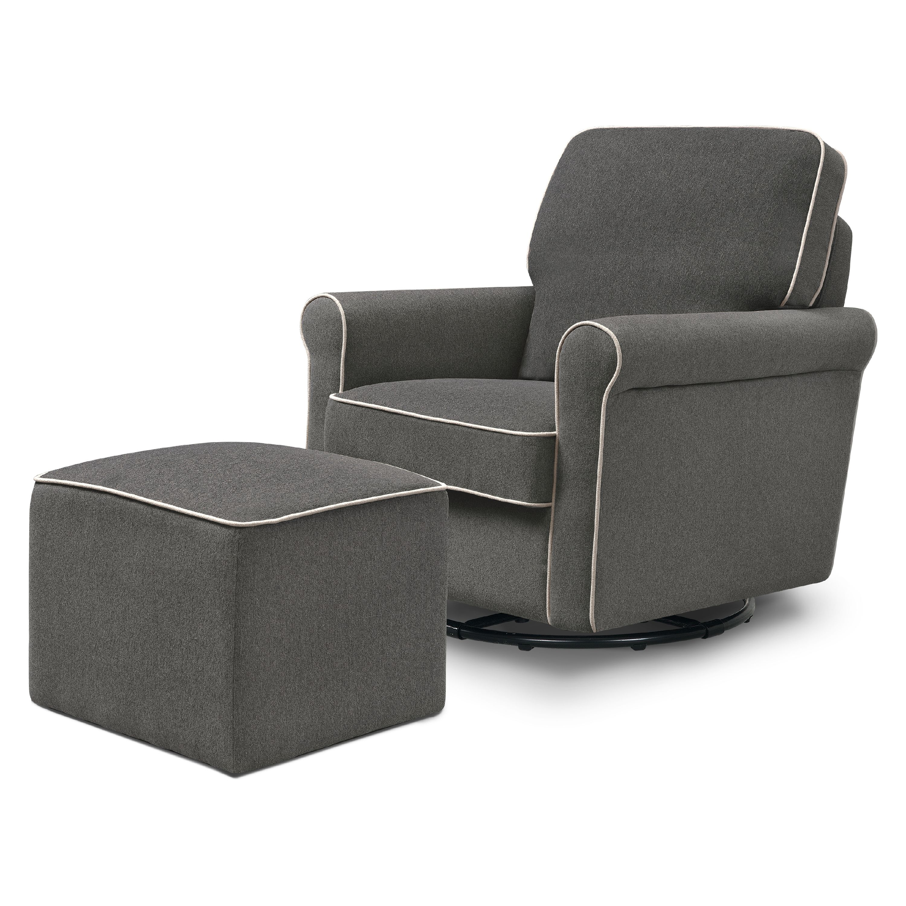 DaVinci Maya Swivel Glider and Ottoman in Dark Grey with Cream Piping by DaVinci Baby