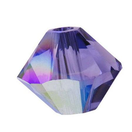 Swarovski Crystal, #5328 Bicone Beads 3mm, 25 Pieces, Tanzanite AB Swarovski Tanzanite Round Beads