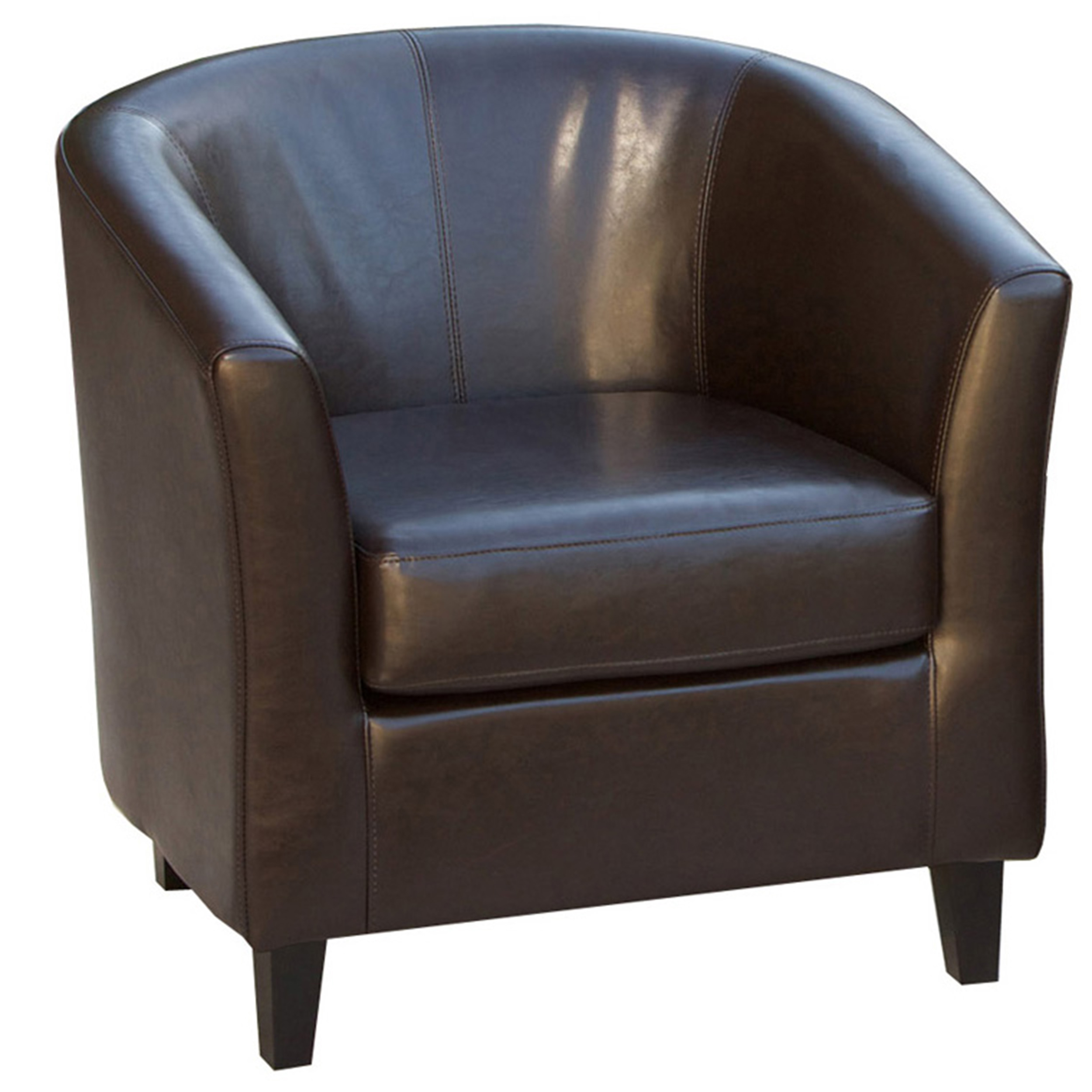Bardwell Brown Bonded Leather Barrel Club Chair by GDF Studio