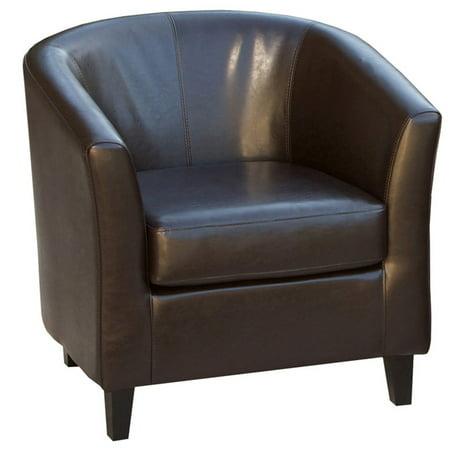 Bardwell Brown Bonded Leather Barrel Club Chair Walmart Com