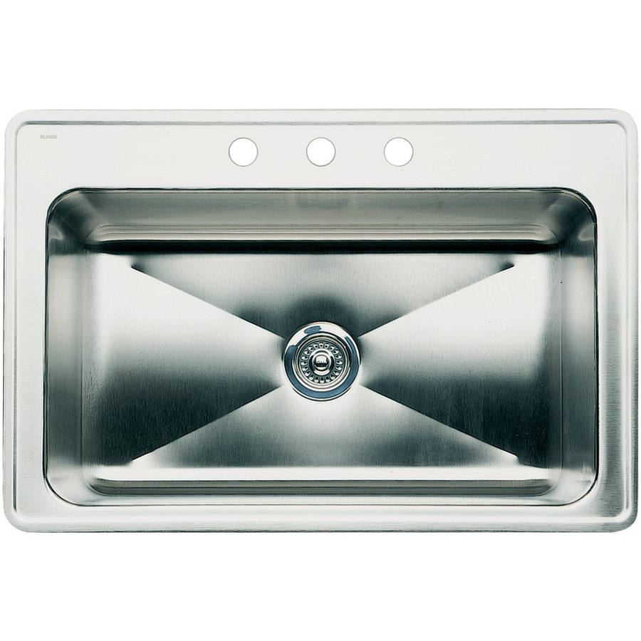 "Blanco 440284 Magnum 22"" X 33"" Single-Basin Stainless Steel Drop-In 1-Hole Residential Kitchen Sink, Satin"