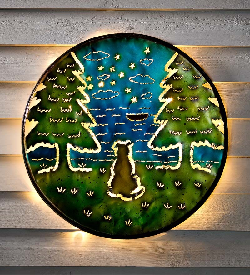 Lighted Lucky Dog Recycled Oil Drum Lid Wall Art
