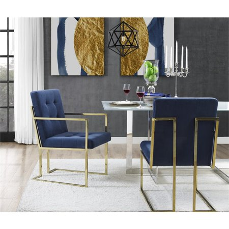 Astounding Evan Navy Blue Velvet Dining Chair Set Of 2 Button Tufted Bralicious Painted Fabric Chair Ideas Braliciousco