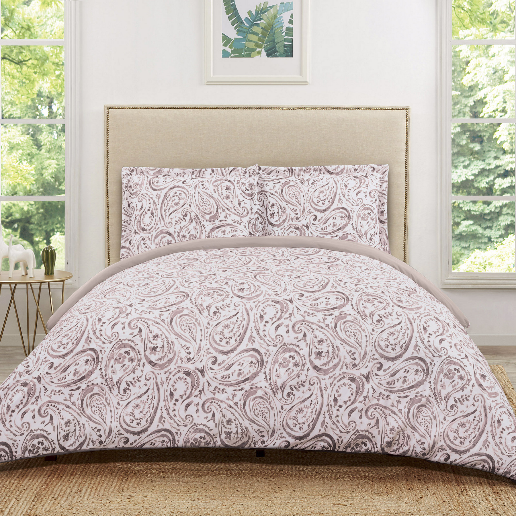 Truly Soft Watercolor Paisley Eggplant Twin Extra Long Duvet Set
