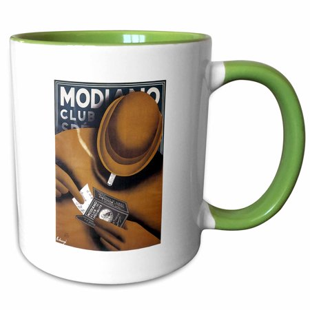 Advertising Cigarette - 3dRose Vintage Modiano Club Cigarette Papers Advertising Poster - Two Tone Green Mug, 11-ounce