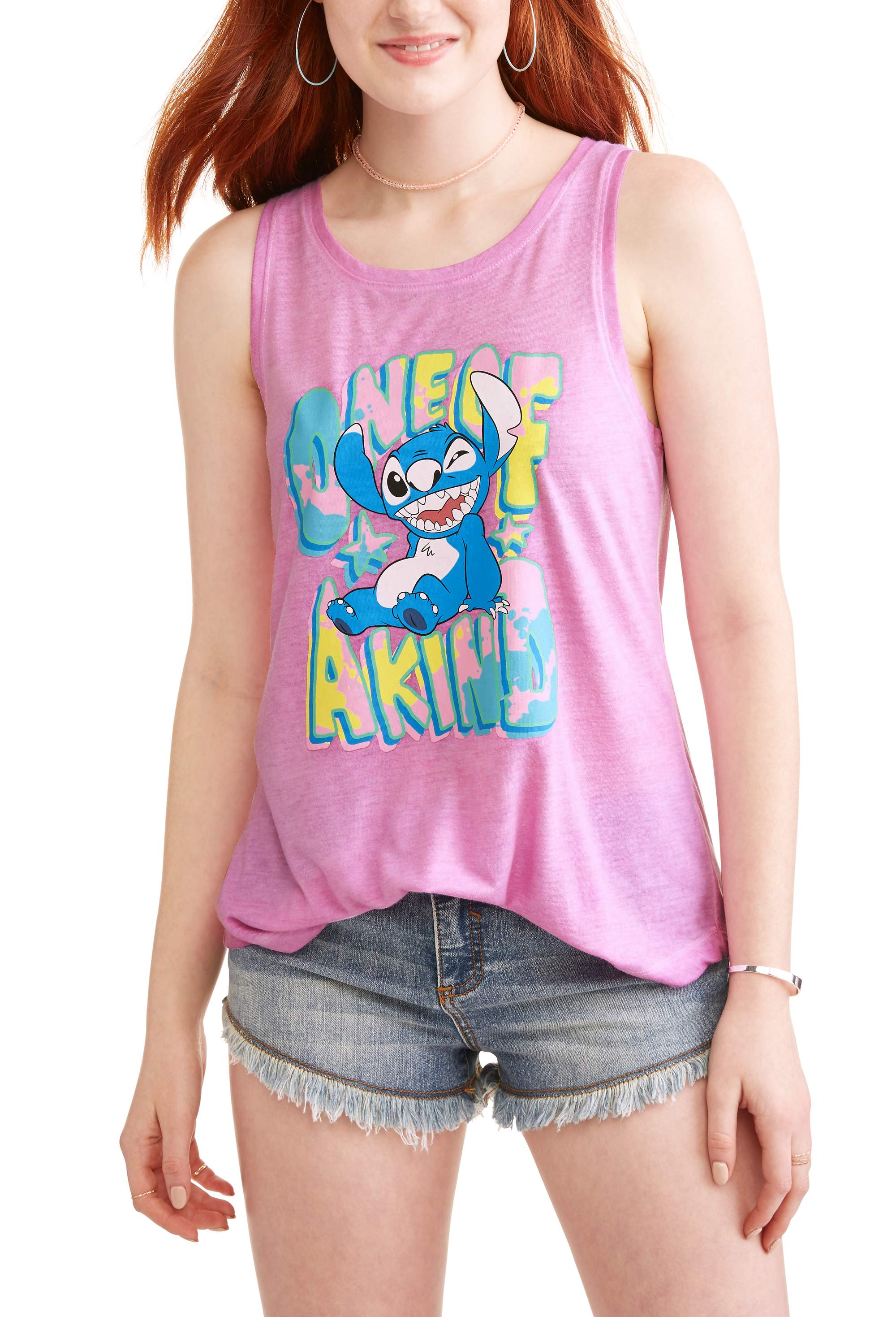 Juniors' One Of A Kind Winky Face Pigment Dyed Graphic Muscle Tank Top