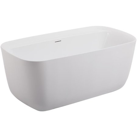 "Elegant Decor Calum 59"" Modern Soaking Acrylic Bathtub in Glossy White"