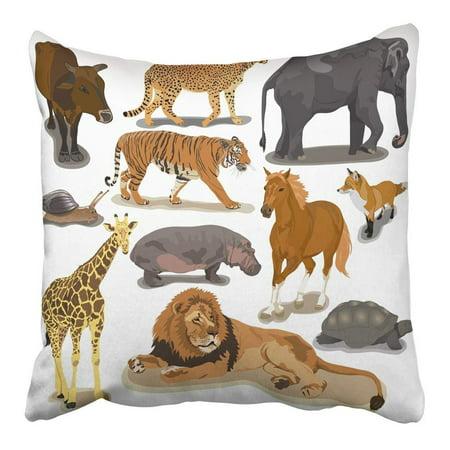 CMFUN Wild with Animals on White Cheetah Fox Hippopotamus Tiger Africa Hippo Lion Pillowcase Cushion Cover 16x16 inch ()