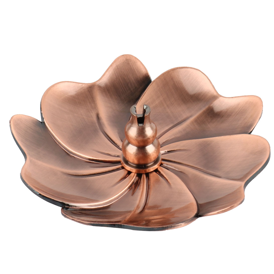 Home Metal Flower Shape Censer Plate Insence Stick Holder Container Copper Tone