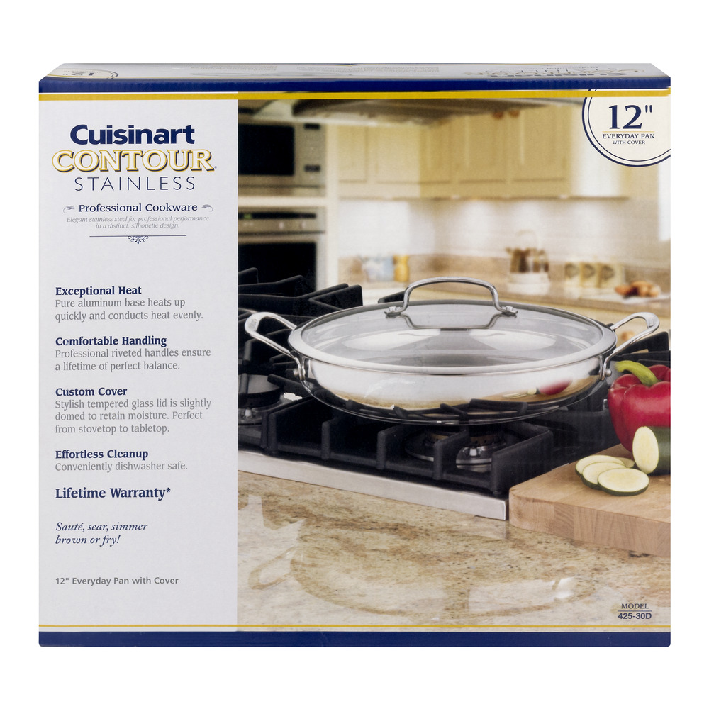 Cuisinart Contour Stainless Everyday Pan with Cover - 12 Inch Pan, 1.0 CT