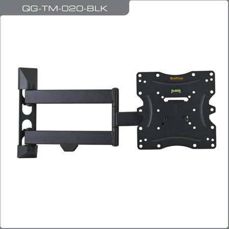 QualGear QG-TM-020-BLK Universal Ultra-Low-Profile Articulating TV Wall Mount for most 23″-42″ TVs, Black
