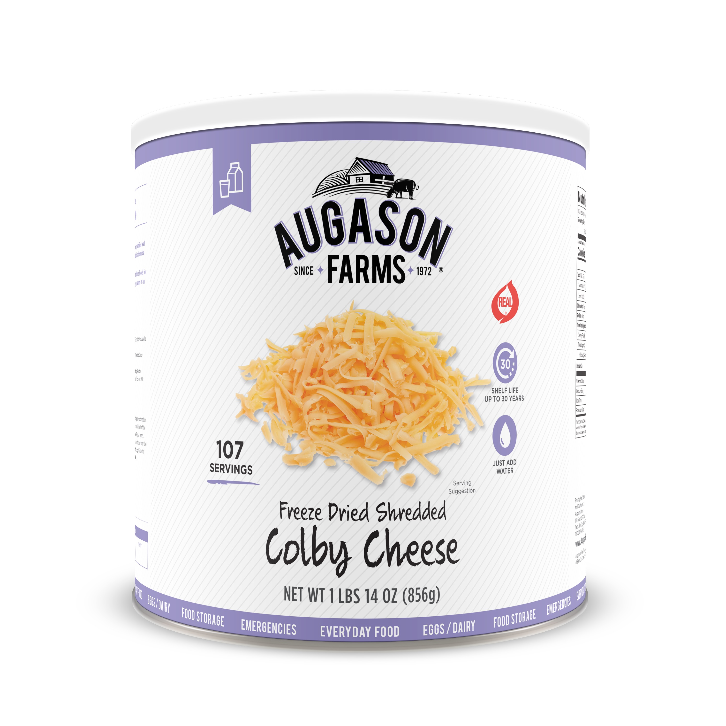 Augason Farms Freeze Dried Shredded Colby Cheese 1 lbs 14 oz No. 10 Can by Blue Chip Group
