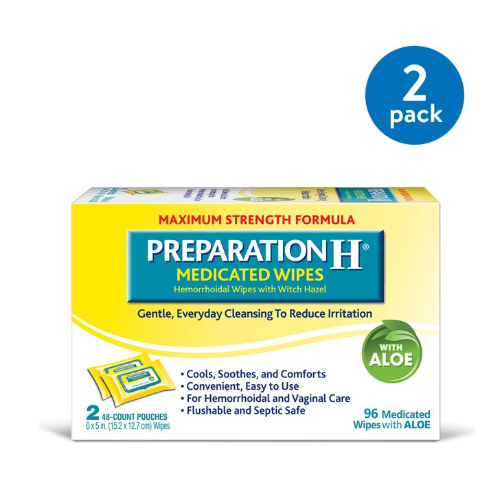 (2 Pack) Preparation H Hemorrhoid Flushable Medicated Wipes, Maximum Strength Relief with Witch Hazel and Aloe, Pouch (2 x 48 Count, 96 Count)