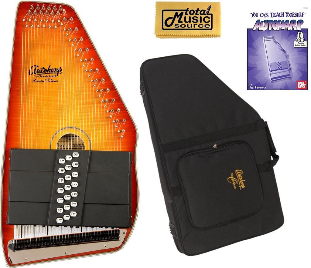 Oscar Schmidt 21 Chord A E Autoharp, Flame Maple Top, Honey Sunburst OS11021FHSE W Soft... by Oscar Schmidt