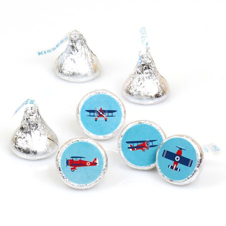 Taking Flight - Airplane - Vintage Plane Baby Shower or Birthday Party Round Candy Sticker Favors - Fit Hershey's-108 - Airplane Party