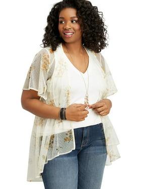 d78571162f6 Product Image Plus Size Floral Mesh Button Front Kimono